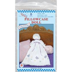 Stamped White Pillowcase Doll Kit-Butterflies Galore