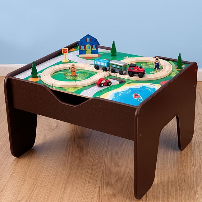 KidKraft 2-in-1 Espresso Train & LEGO Activity Table