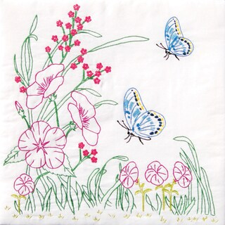 "Stamped White Quilt Blocks 18""X18"" 6/Pkg-Flowers & Butterflies"