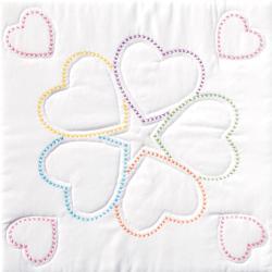 """Stamped White Quilt Blocks 18""""X18"""" 6/Pkg-Five Hearts"""