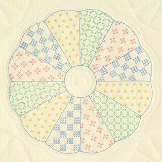 """Stamped Ecru Quilt Blocks 18""""X18"""" 6/Pkg-Interlocking Dresden Circle"""