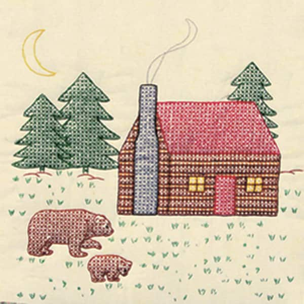 "Stamped Ecru Quilt Blocks 18""X18"" 6/Pkg-Cabin & Bears"