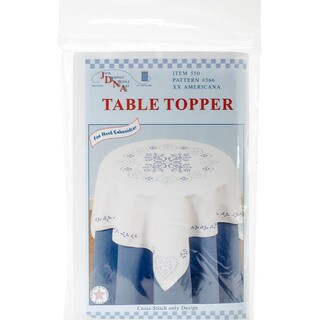 """Stamped White Perle Edge Table Topper 35""""X35""""-XX Americana"""