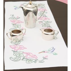 "Stamped Table Runner/Scarf 15""X42""-Hummingbird"