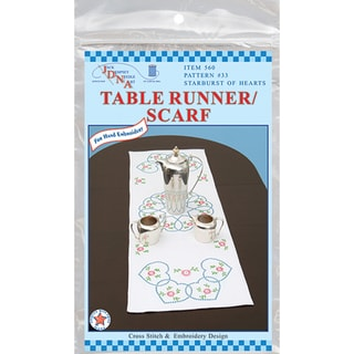"""Stamped Table Runner/Scarf 15""""X42""""-Starburst Of Hearts"""