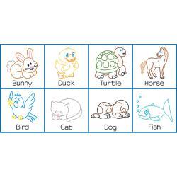 "Stamped Nursery Quilt Block Book 4-1/4"" 8/Pkg-Pets"
