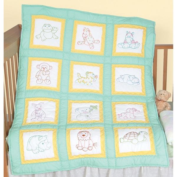 """Stamped White Nursery Quilt Blocks 9""""X9"""" 12/Pkg-Cute Animals"""