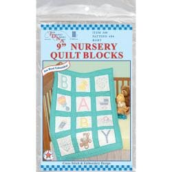 "Stamped White Nursery Quilt Blocks 9""X9"" 12/Pkg-Baby"