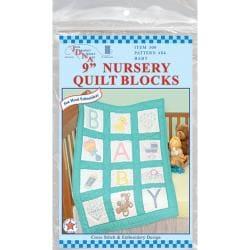 """Stamped White Nursery Quilt Blocks 9""""X9"""" 12/Pkg-Baby"""