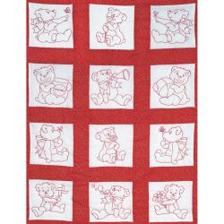 "Stamped White Nursery Quilt Blocks 9""X9"" 12/Pkg-Baby Bears"