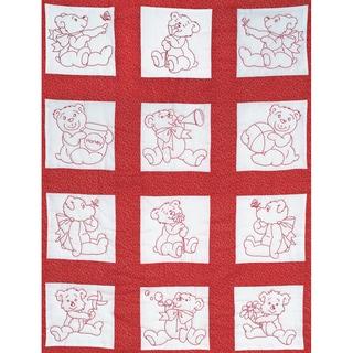 "Stamped White Nursery Quilt Blocks 9""X9"" 12/Pkg-Baby Bears"