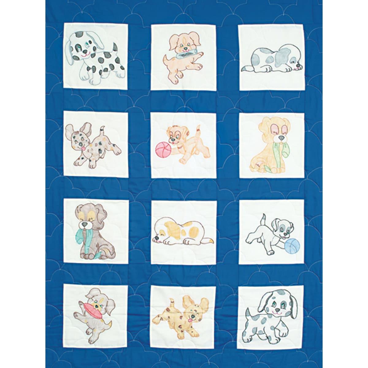 Stamped White Nursery Quilt Blocks 9 Quot X9 Quot 12 Pkg Puppies