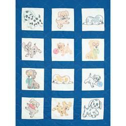 "Stamped White Nursery Quilt Blocks 9""X9"" 12/Pkg-Puppies"