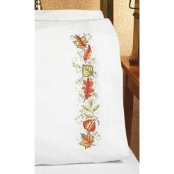 """Autumn Leaves Pillow Case Pair Stamped Cross Stitch-20""""X30"""""""