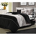 Horizon Embroidered Grey/Black 8-piece Comforter Set