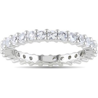 Miadora 10k White Gold 1-1/8ct TGW Created White Sapphire Eternity Ring