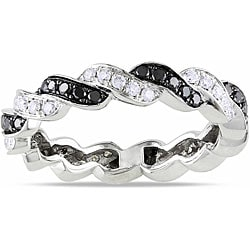 Miadora  14k White Gold 3/4ct TDW Black and White Diamond Ring (G-H, SI1-SI2) (Size 7)