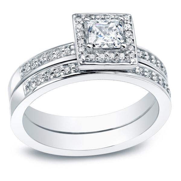 Auriya 14k Gold 1-1/2ct TDW Princess Diamond Bridal Ring Set 9186925