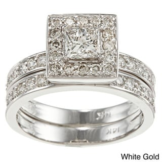 Auriya  14k Gold 1-1/2ct TDW Princess Diamond Bridal Ring Set (H-I, I1-I2)