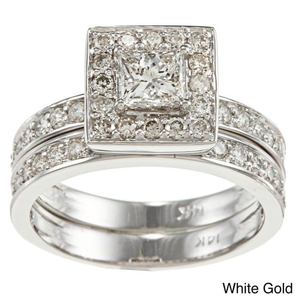 Auriya 14k Gold 1-1/2ct TDW Princess Diamond Bridal Ring Set (H-I, I1-I2)