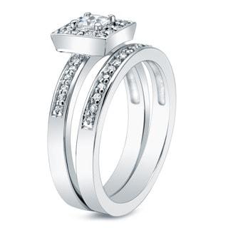 Auriya 14k Gold 1-1/2ct TDW Princess Diamond Bridal Ring Set (I-J, I1-I2)