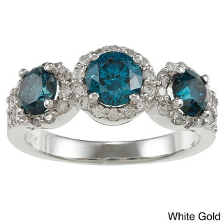 Auriya  14k Gold 1 1/5ct TDW Round Blue and White Diamond Ring (G-H, I1-I2)