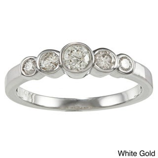 Auriya 14k Gold 1/2ct TDW Five-stone Bezel Diamond Ring (H-I, I1-12)