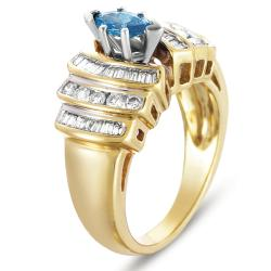 14k Yellow Gold 9/10ct TDW Stunning Blue Diamond Ring