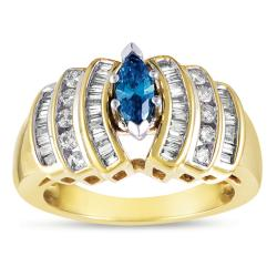 Eloquence 14k Yellow Gold 9/10ct TDW Stunning Blue Diamond Ring