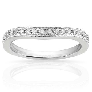 Annello 14k White Gold 1/5ct TDW Diamond Curved Wedding Band (H-I, I1-I2)