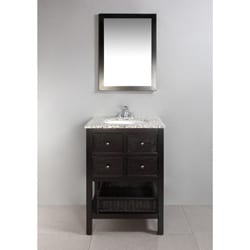 New Haven Espresso Brown 24-inch Bath Vanity with 2 Drawers and Dappled Grey Granite Top