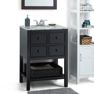 WYNDENHALL New Haven Espresso Brown 24-inch 2-drawer Bath Vanity Set with Dappled Grey Granite Top