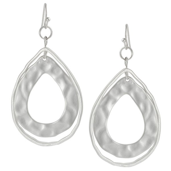 Journee Collection Ivory-colored Hammered Teardrop Dangle Earrings