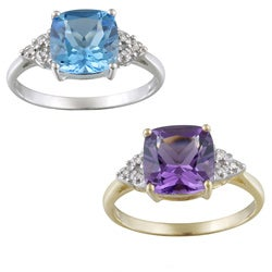 Glitzy Rocks 10k White Gold Diamond And Gemstone Ring