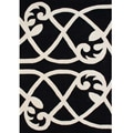 Alliyah Handmade Jet Black New Zealand Wool Rug (5 x 8)
