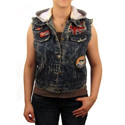 Knoles and Carter Women's Denim Vest with Detachable Hood