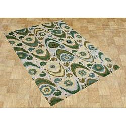 Handmade Olive Green New Zealand Wool Rug (8 x 10)