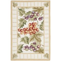 Hand-hooked Fruits Ivory Wool Rug (1'8 x 2'6)