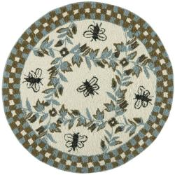 Hand-hooked Bees Ivory/ Blue Wool Rug (3' Round)