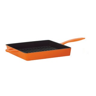 Mario Batali by Dansk Classic Persimmon 11-inch Square Cast Iron Grill Pan