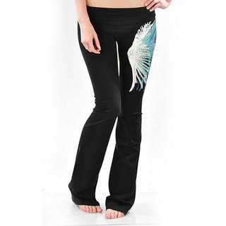 Tabeez Women's Rhinestone Feathered Yoga Pants