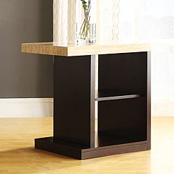 Doncaster Faux Marble Top Dark Cherry Modern End Table