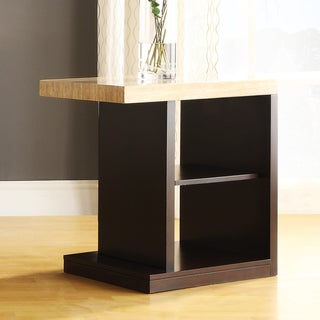 TRIBECCA HOME Doncaster Faux Marble Top Dark Cherry Modern End Table