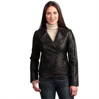Collezione Women's Plus Faux Leather Asymmetrical Jacket