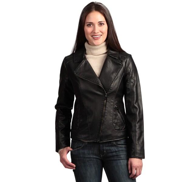 Collezione Women's Plus Faux Leather Asymmetrical Jacket