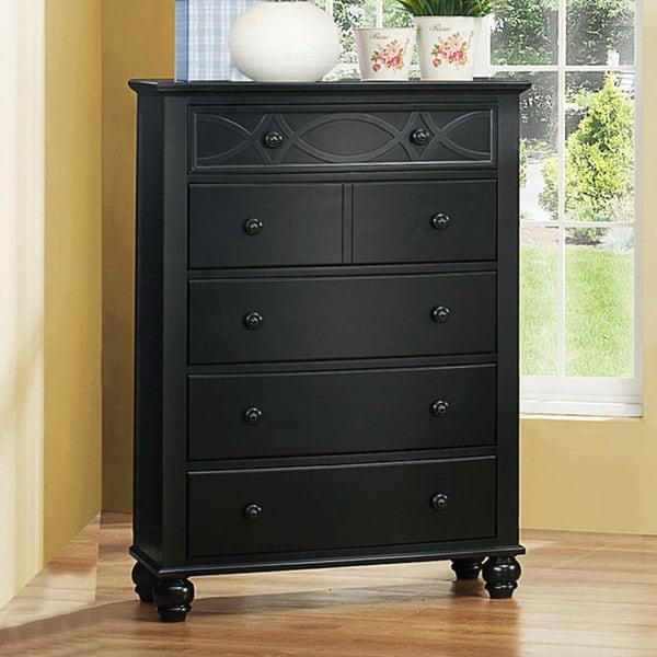 Piston Black Modern Cottage 5-drawer Chest