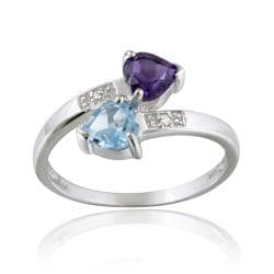 Glitzy Rocks 10k White Gold Diamond Swiss Blue Topaz And Amethyst Crossover Heart Ring
