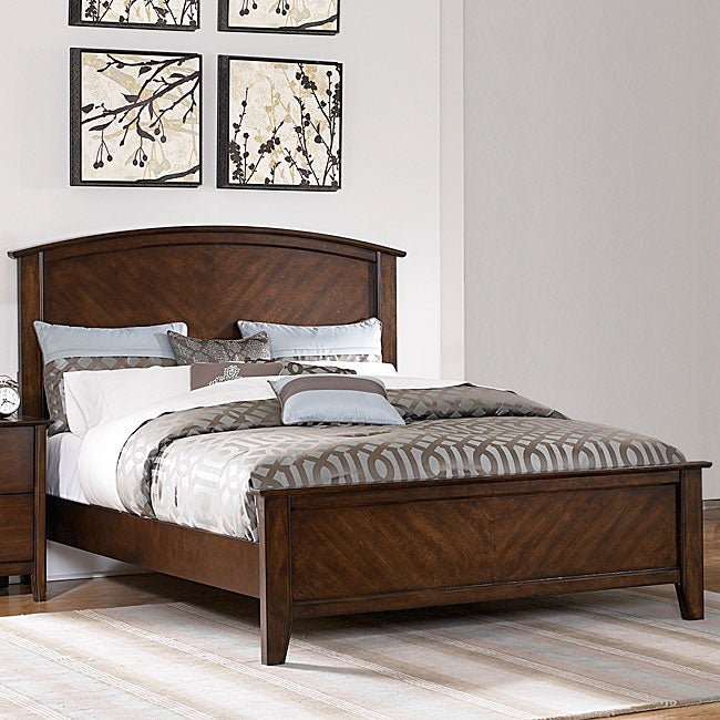 Nurmes Warm Cherry Queen-size Transitional Low Profile Bed