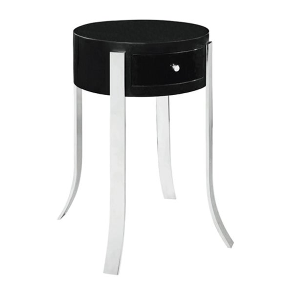 Round Drum Black Lacquer Accent Table