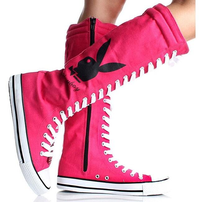 Playboy by Beston Women's Pink Canvas Sneaker Boots